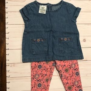 Denim short sleeve pocket shirt, floral leggings